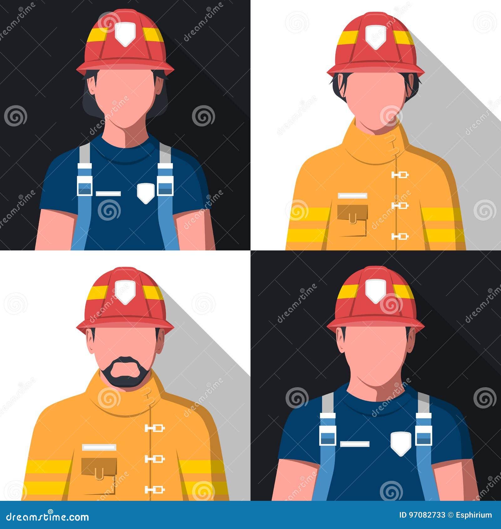 Avatars plats de vecteur des pompiers