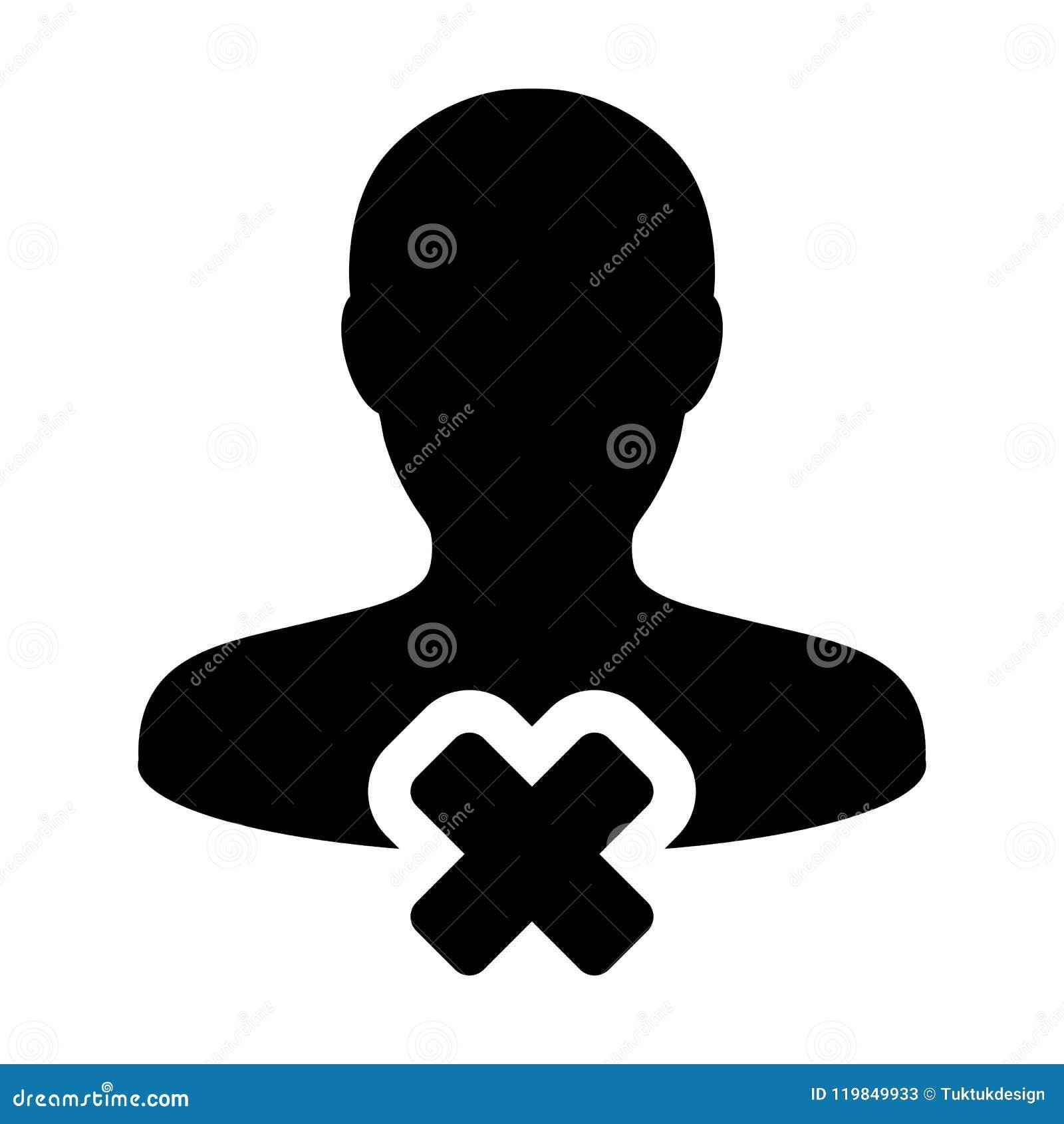 Avbryt avataren för profilen för den manliga personen för användaresymbolsvektorn med borttagningssymbol i plan färgskårapictogra