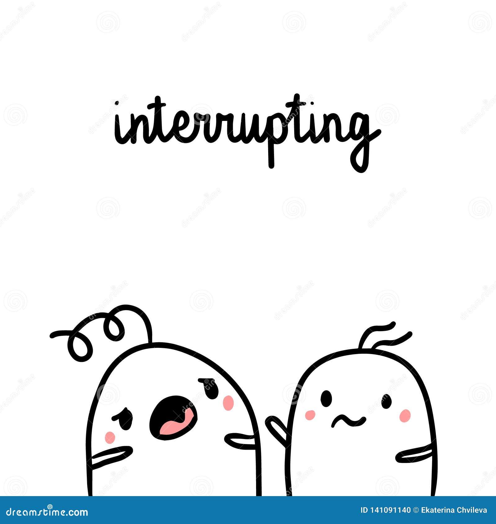 Avbryta, medan tala den utdragna illustrationen för oskickhand med gulliga marshmallower