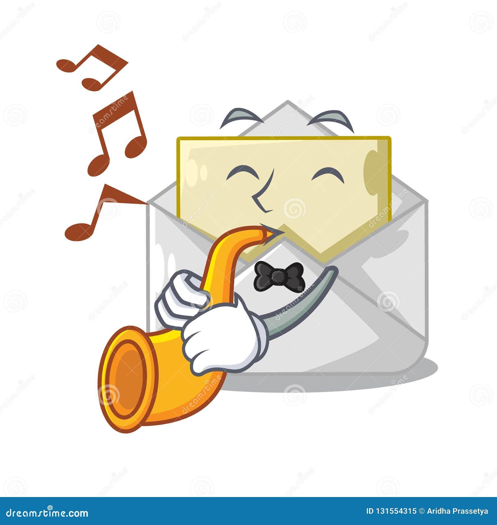 Avec l enveloppe ouverte de trompette sur le blanc de forme de bande dessinée
