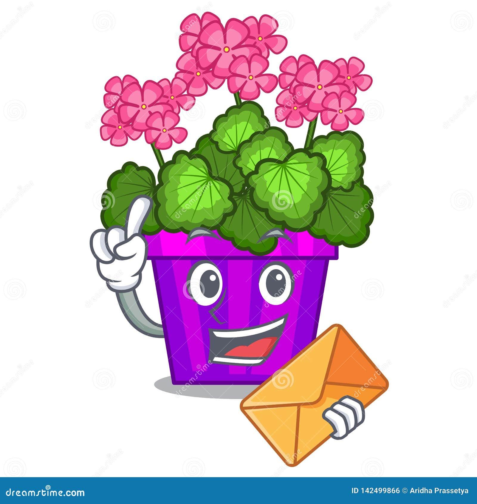 Avec le géranium d enveloppe les fleurs collent la tige de caractère