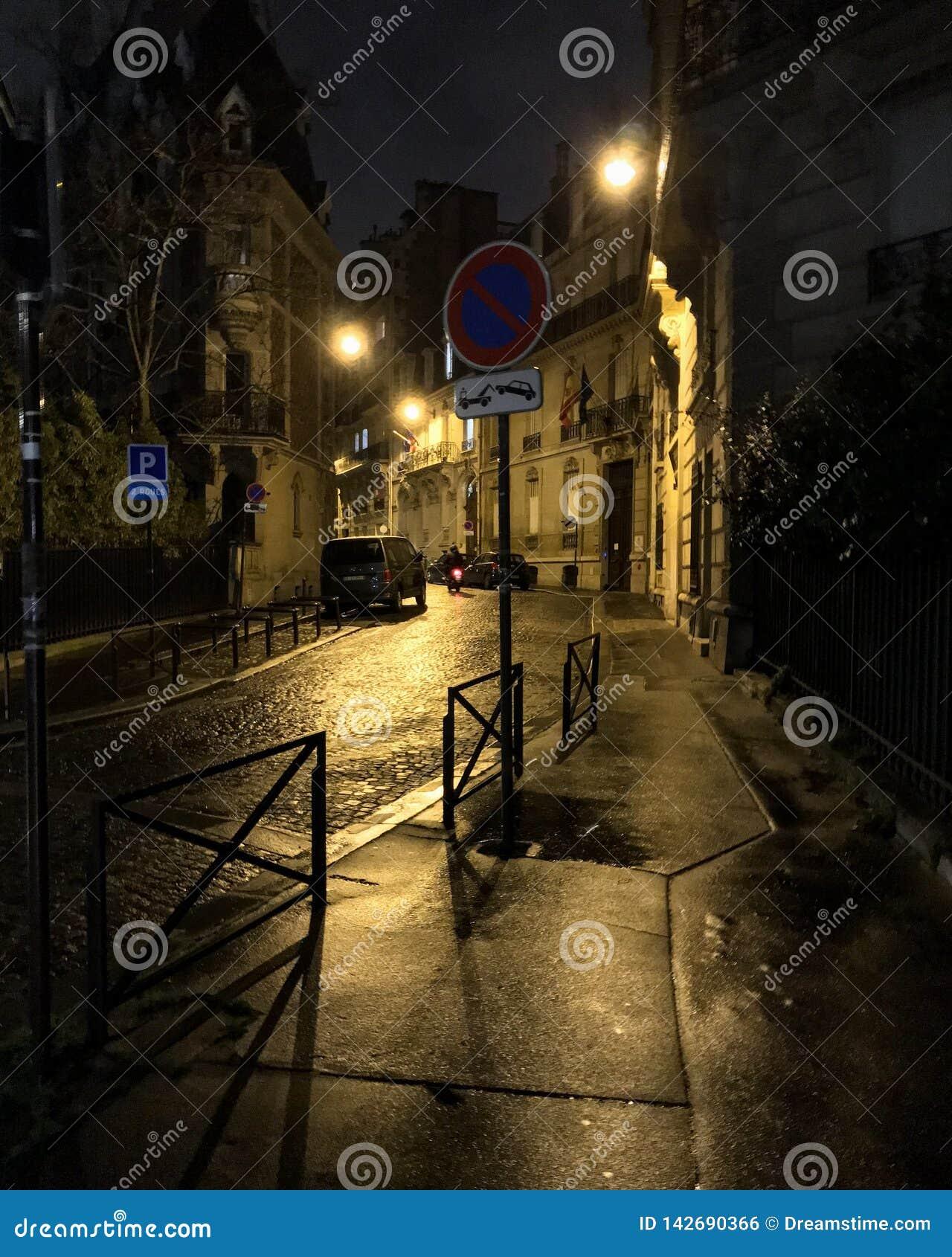 Avenida parisiense iluminada do crepúsculo