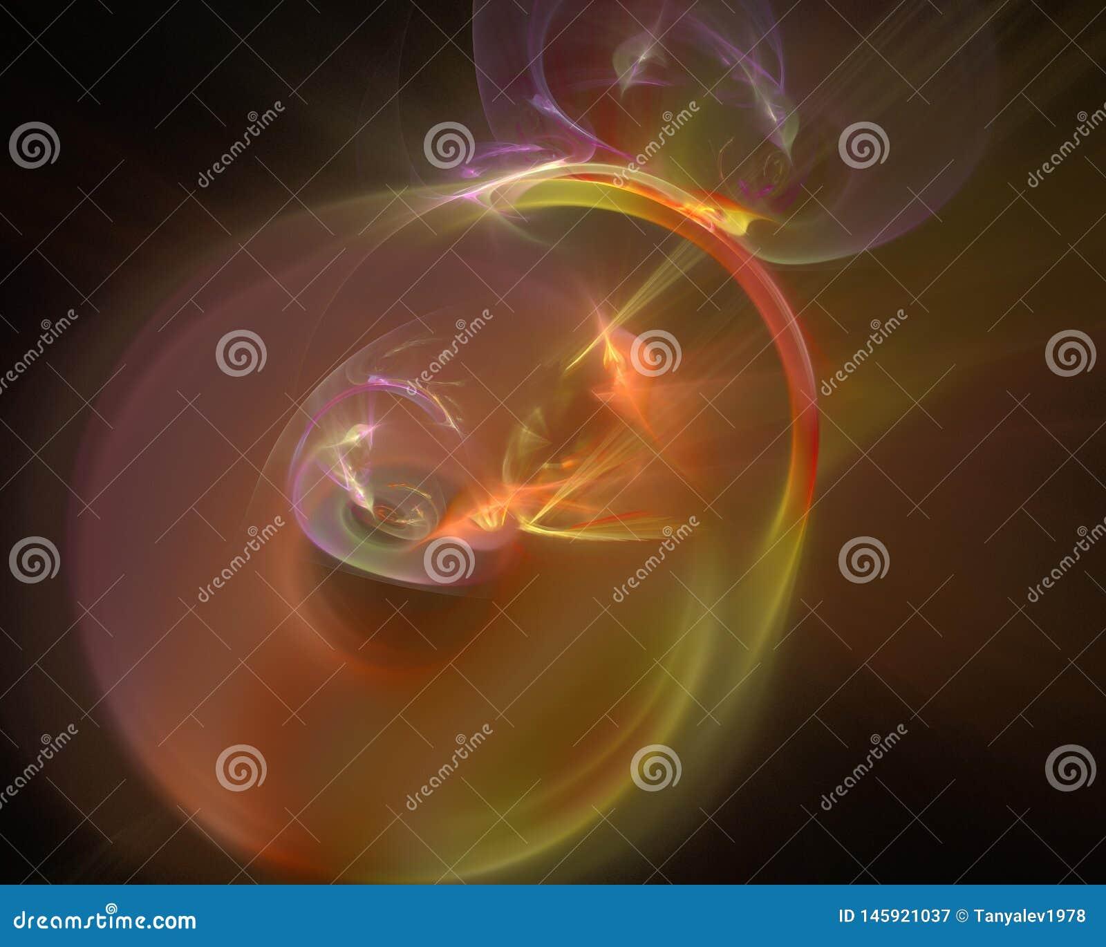 Avenir numérique abstrait de flamme d écoulement de style de fractale, conception magique douce de calibre, remous