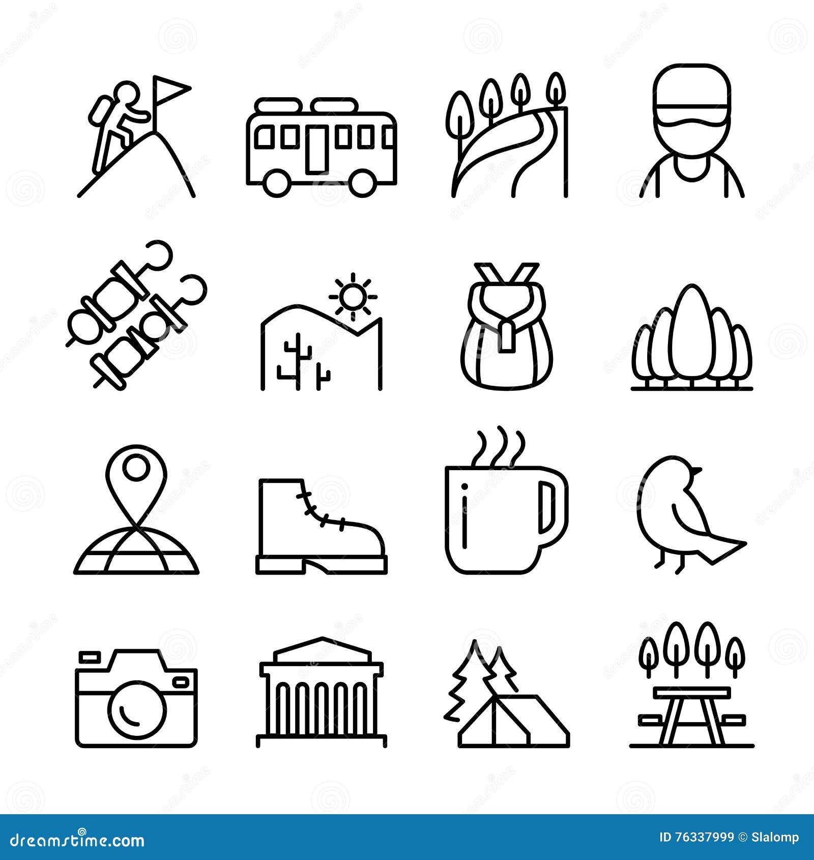 Aventure, explorateur, découverte, camping, voyageur, icône de tourisme