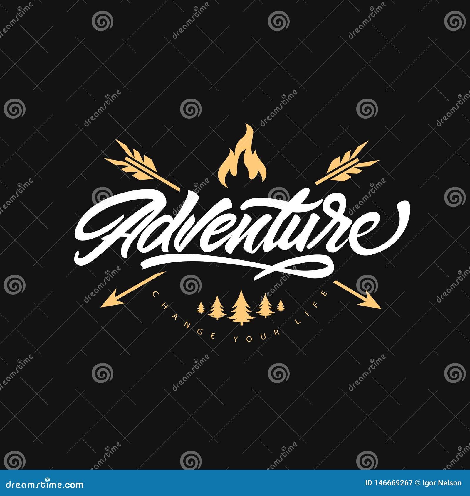 Aventure marquant avec des lettres le logo avec les flèches et le feu Changez votre dur?e Heure de se d?placer Style de logo de h