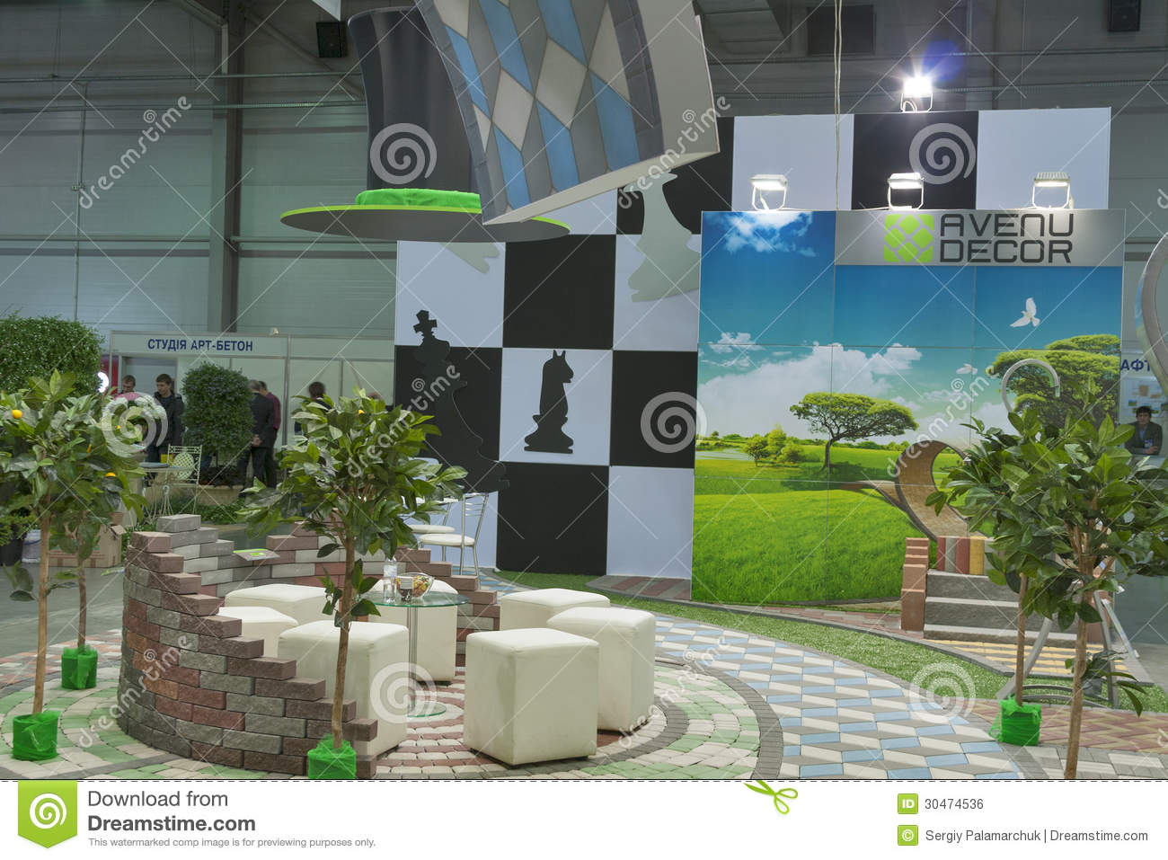 Avenue decor company booth editorial photo image of green for Art decoration international