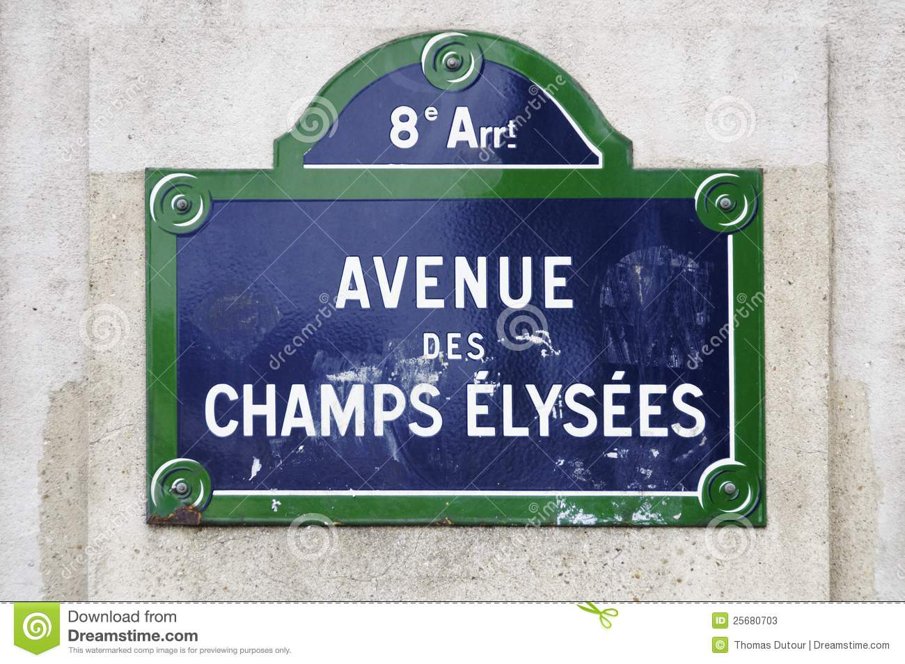 avenue des champs elysees sign stock image image 25680703. Black Bedroom Furniture Sets. Home Design Ideas