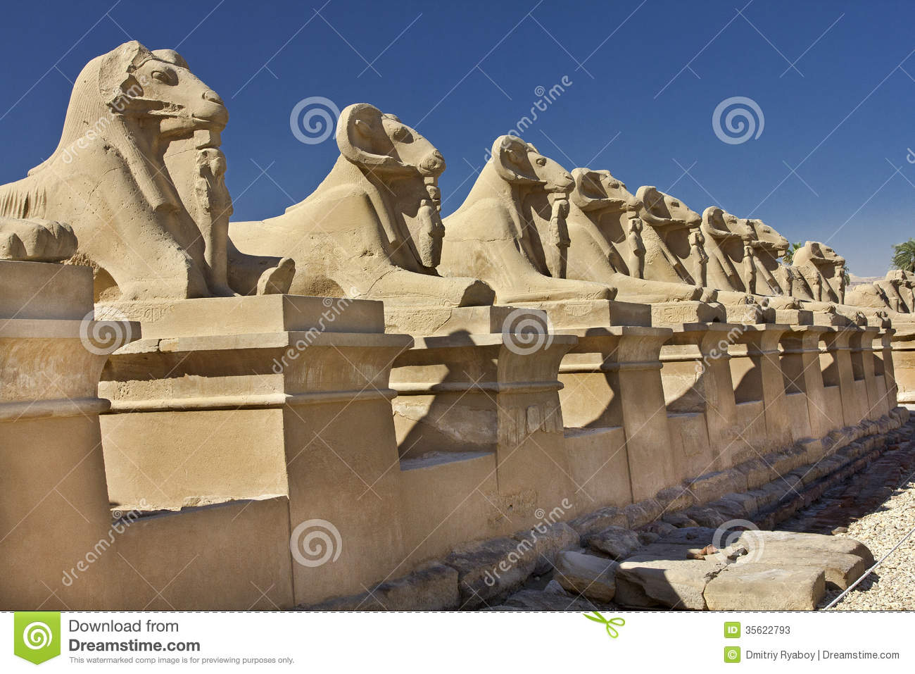 Avenue Of Sphinxes With The Body Of A Lion And The Head Of ...: http://www.dreamstime.com/stock-photos-avenue-sphinxes-body-lion-head-sheep-baran-baran-sacred-animal-god-amun-alley-was-created-image35622793
