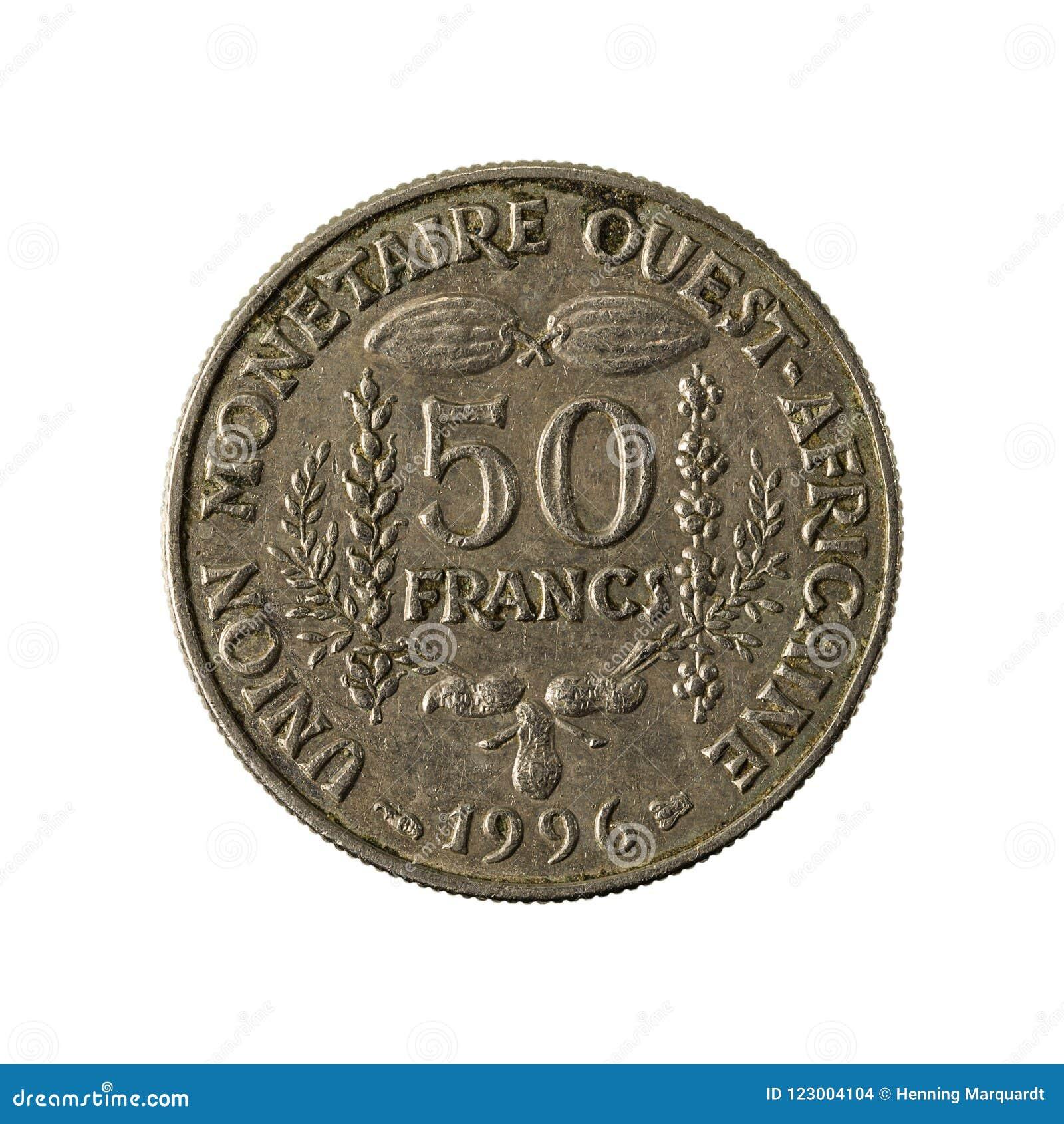 Avers 1996 för mynt för franc för 50 central afrikanCFA