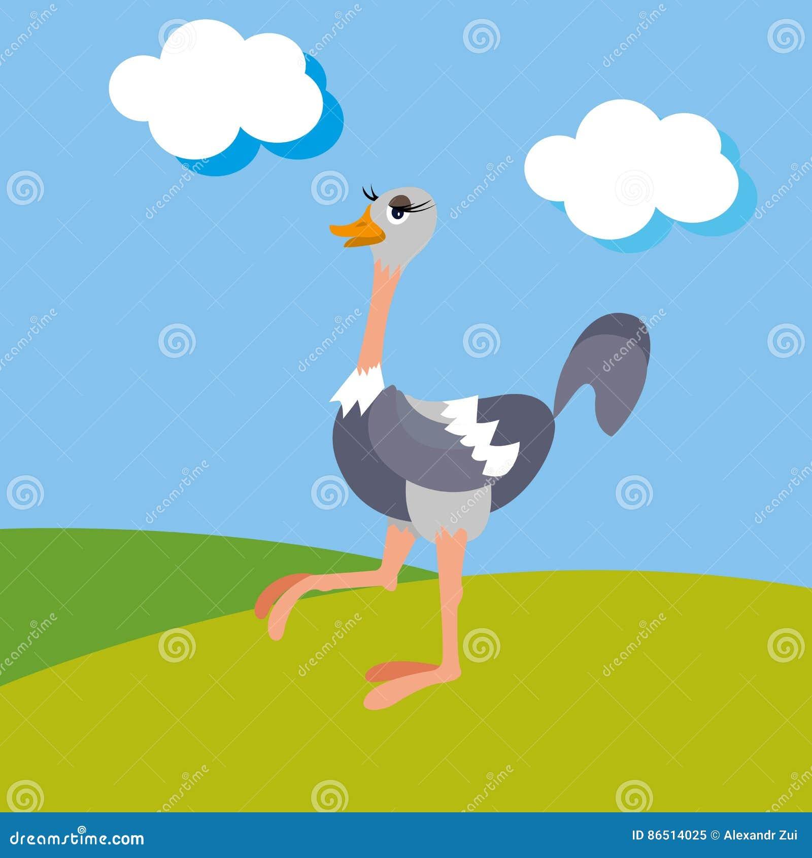 Avestruz na ilustração selvagem da natureza