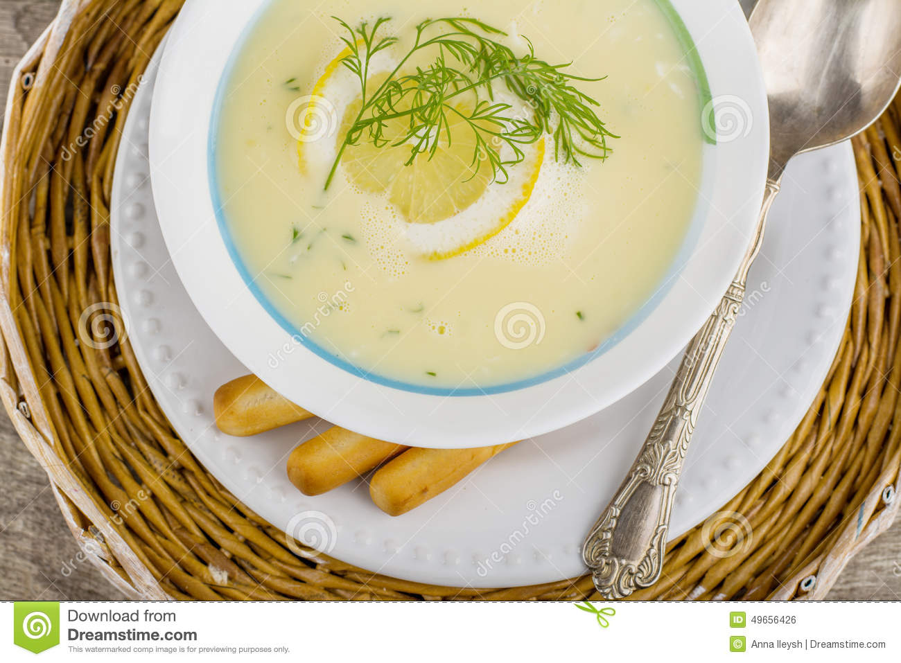 AvgolemonoGreek Chicken Soup Stock PhotoImage49656426
