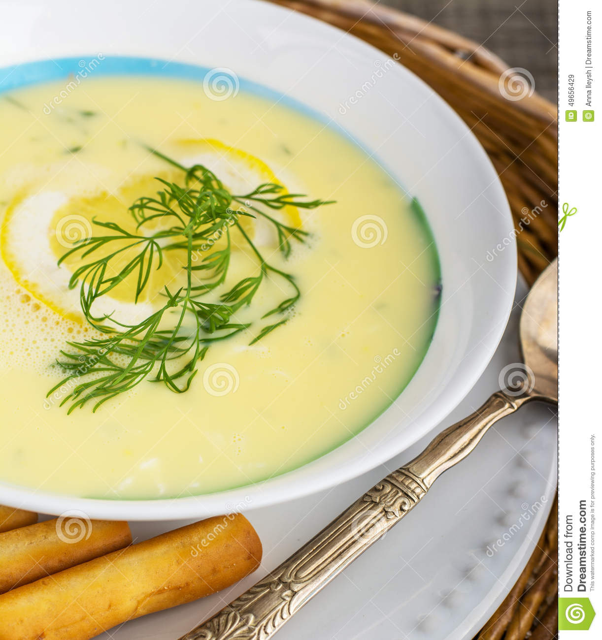 AvgolemonoGreek Chicken Soup Stock PhotoImage49656429