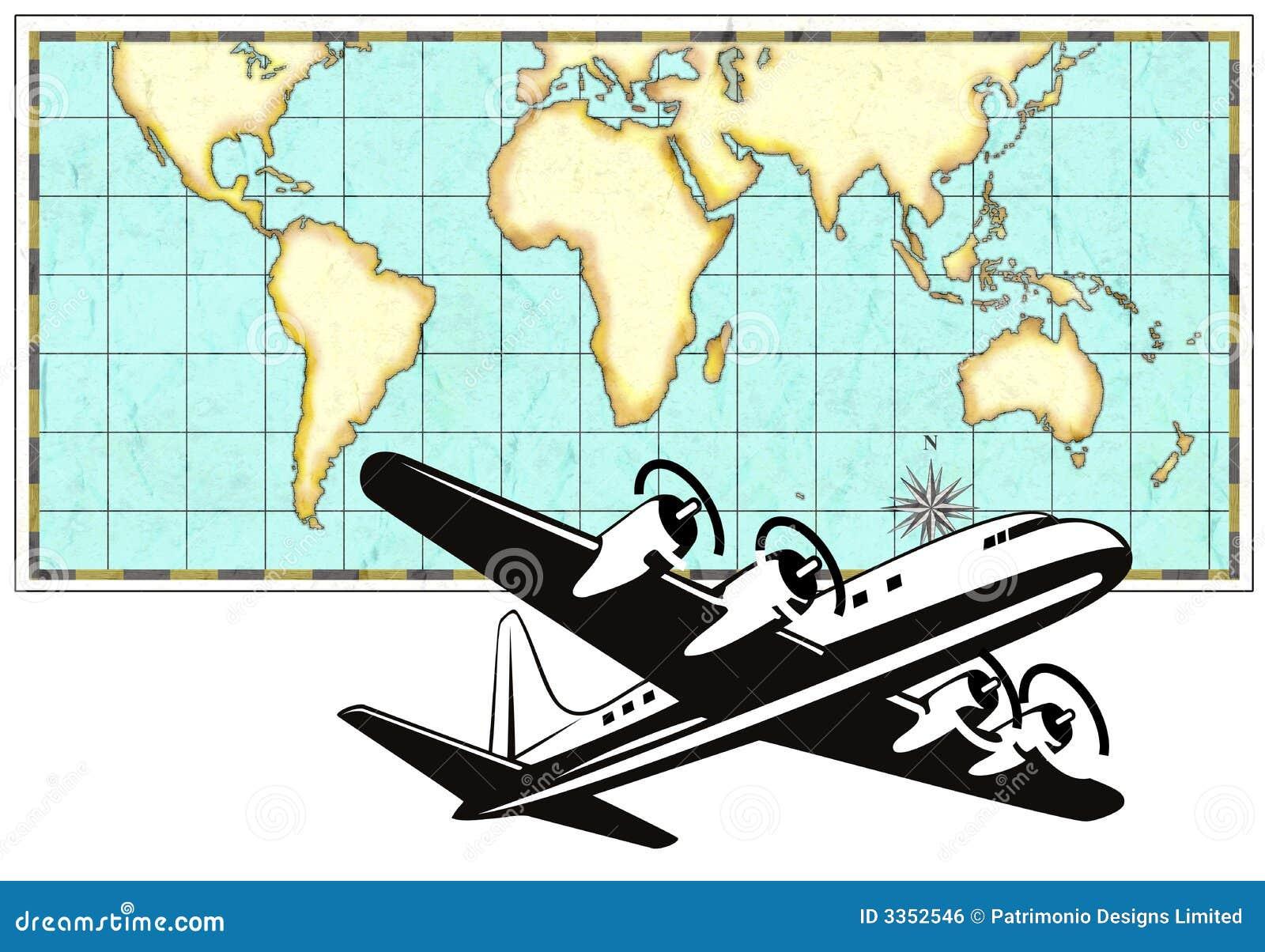 Avião com mapa de mundo
