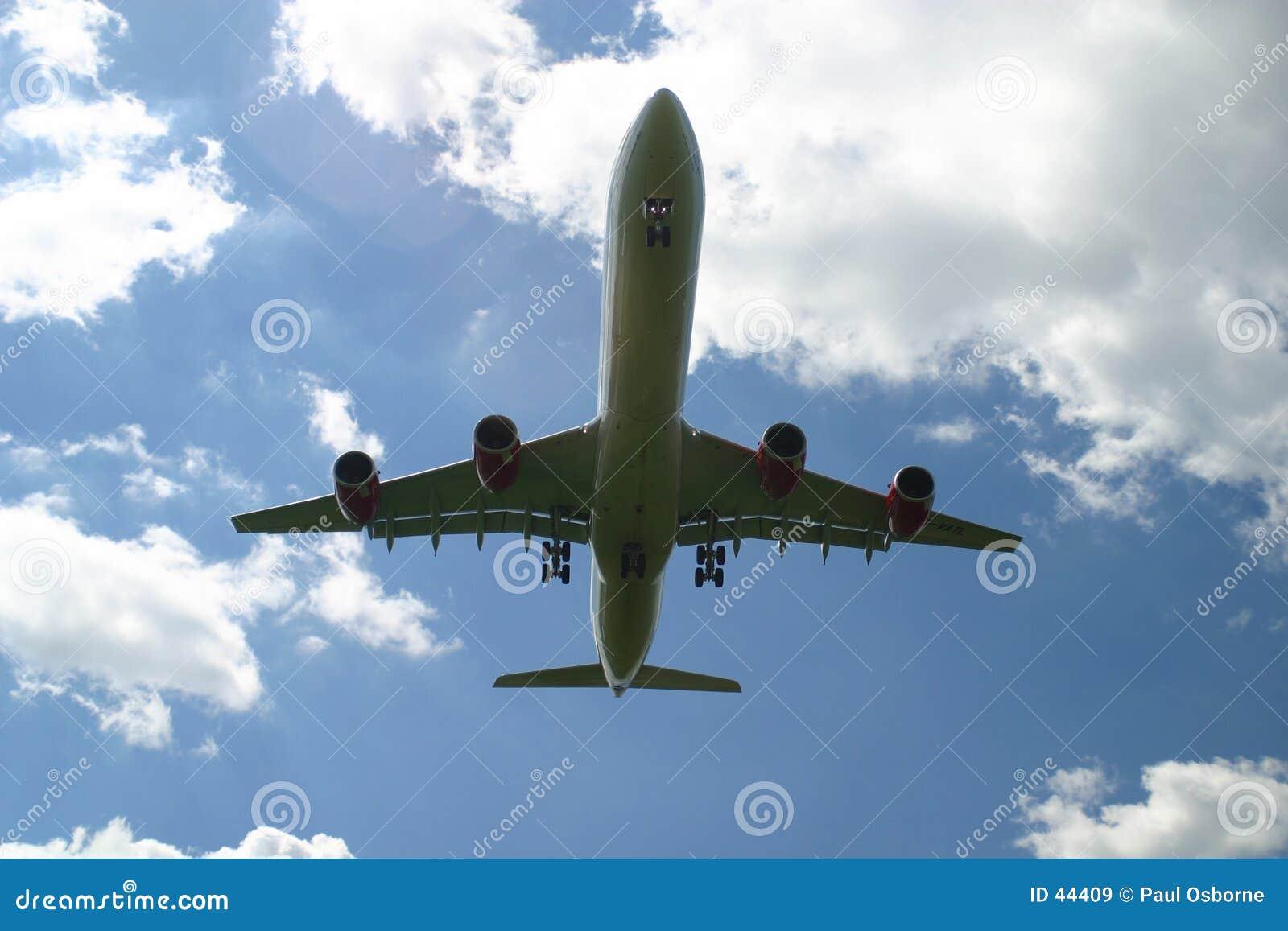 Avião de passageiros da aterragem