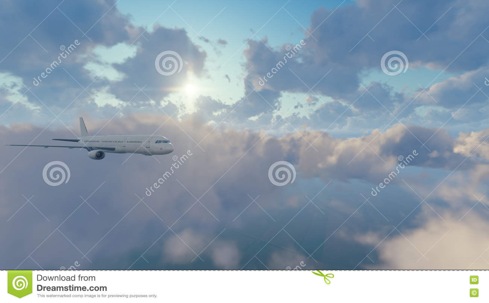 Avião de passageiros do passageiro no céu ensolarado com nuvens