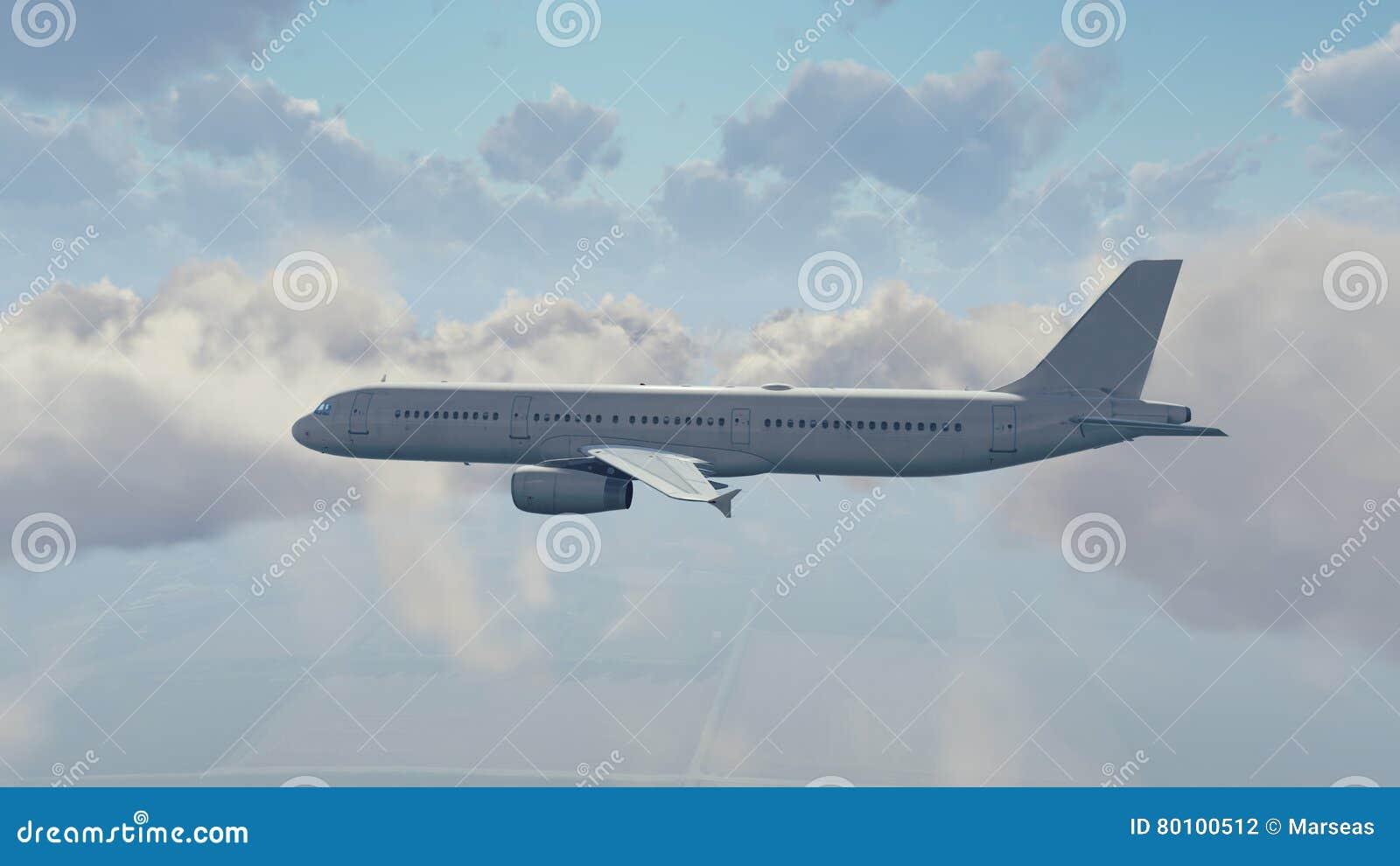 Avião de passageiros do passageiro no céu nebuloso