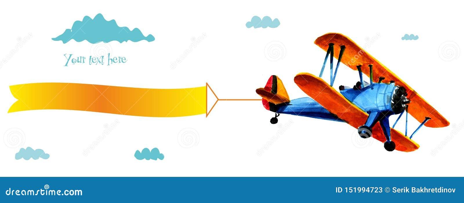 Avião do Bleu com propaganda Biplano azul com a fita branca no céu azul