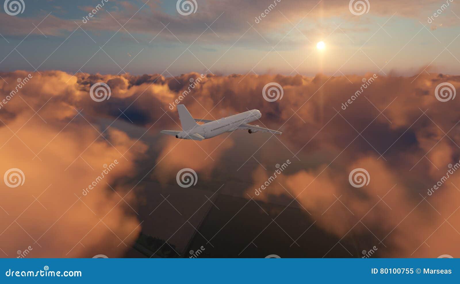 Avião do passageiro no céu nebuloso do por do sol