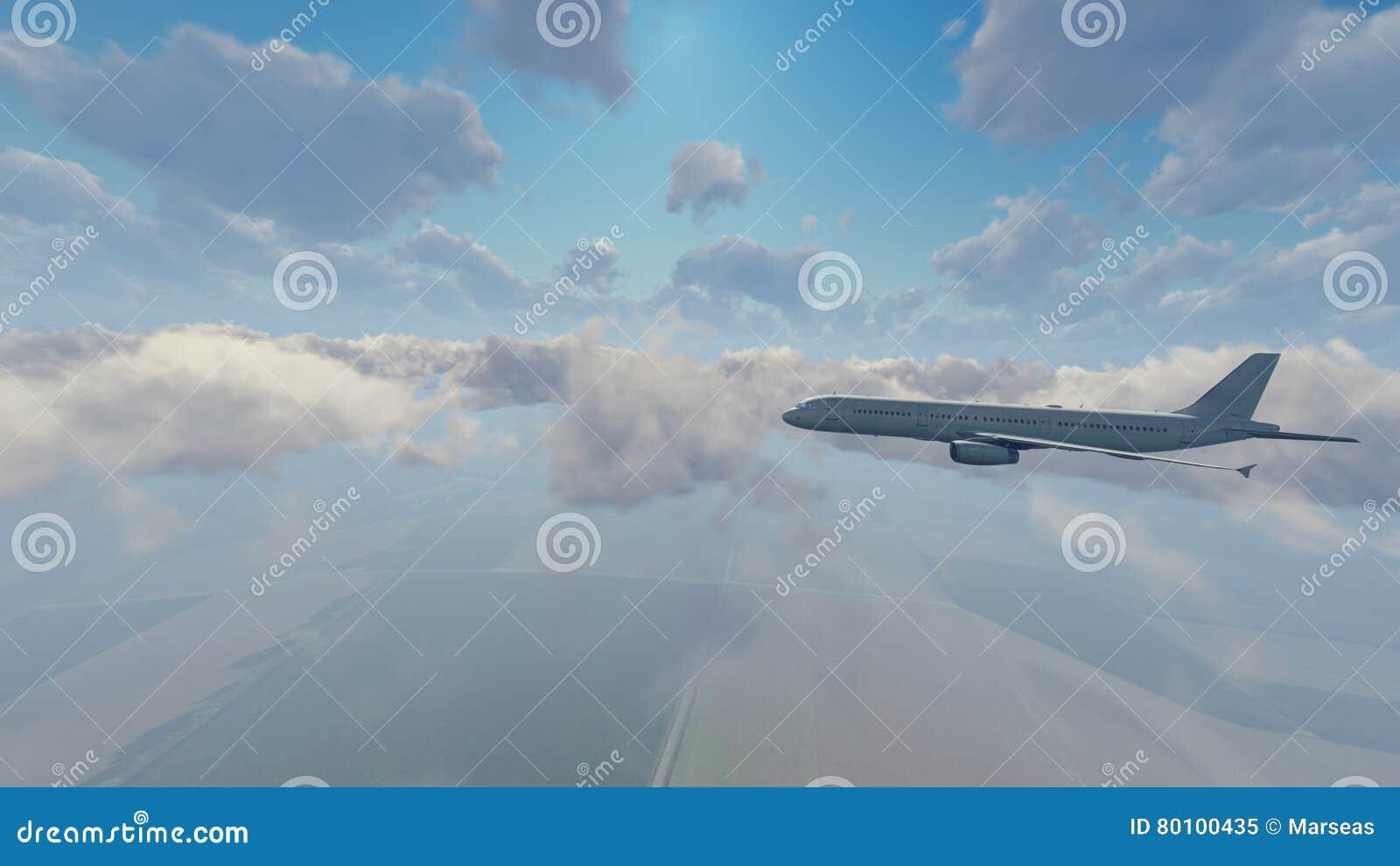 Avião do passageiro que voa altamente no céu