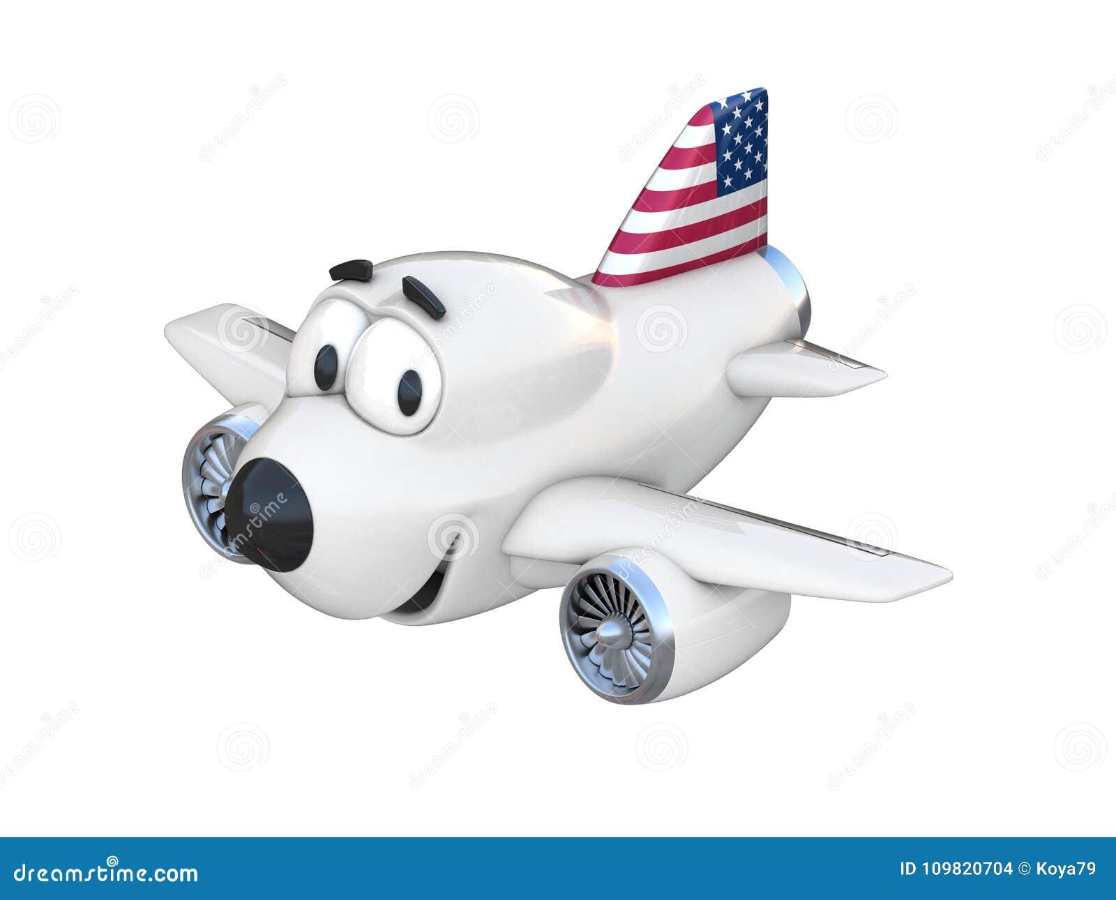 Avião dos desenhos animados com uma bandeira americana de sorriso da cara