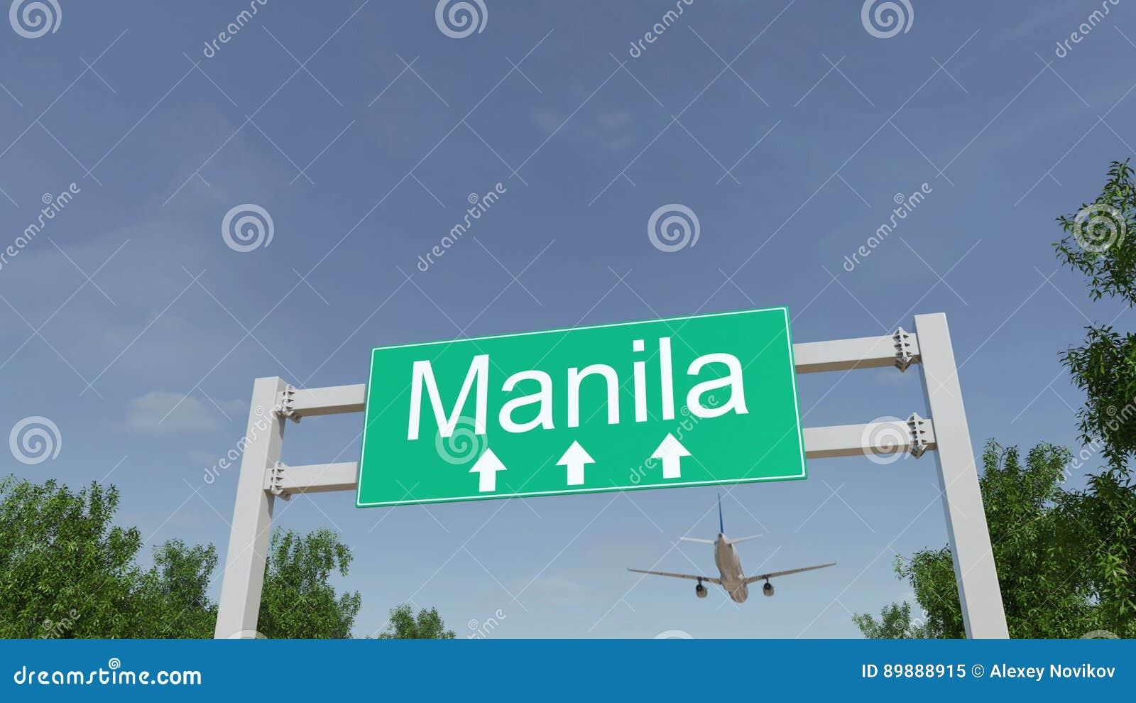 Avião que chega ao aeroporto de Manila Viagem à rendição 3D conceptual de Filipinas