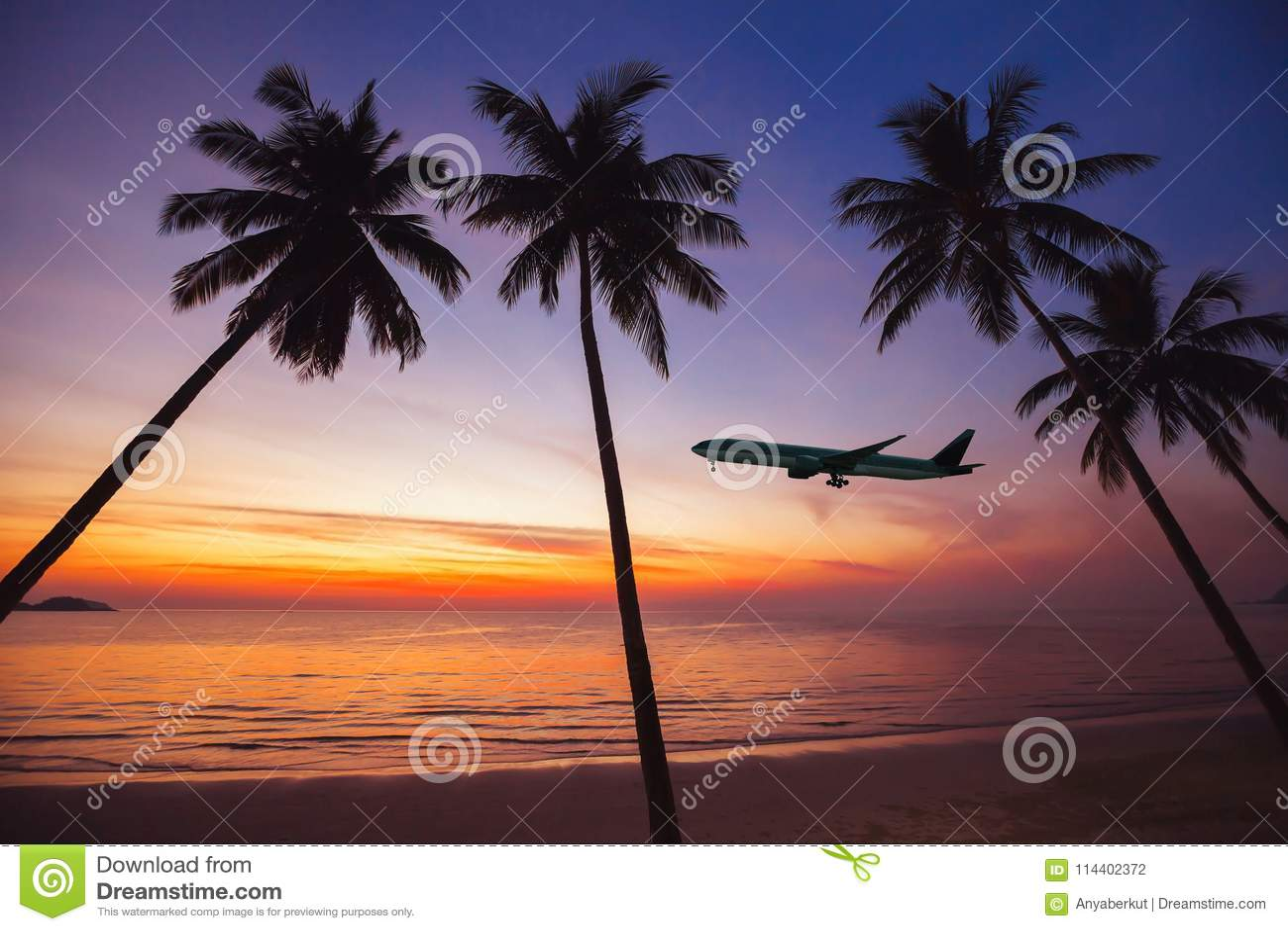 Avião que descola no por do sol, feriados no conceito tropical da ilha, voo