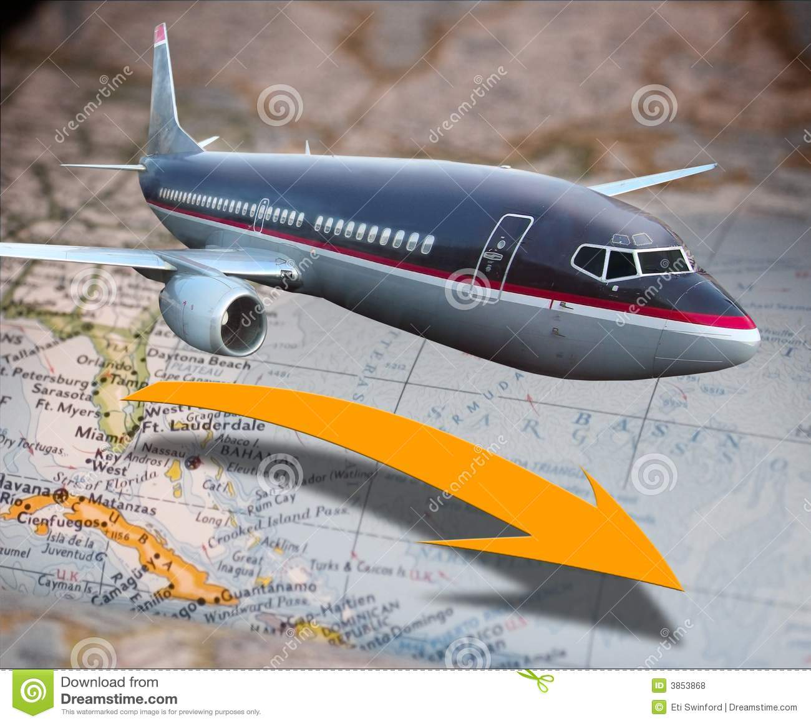 Avião sobre o mapa