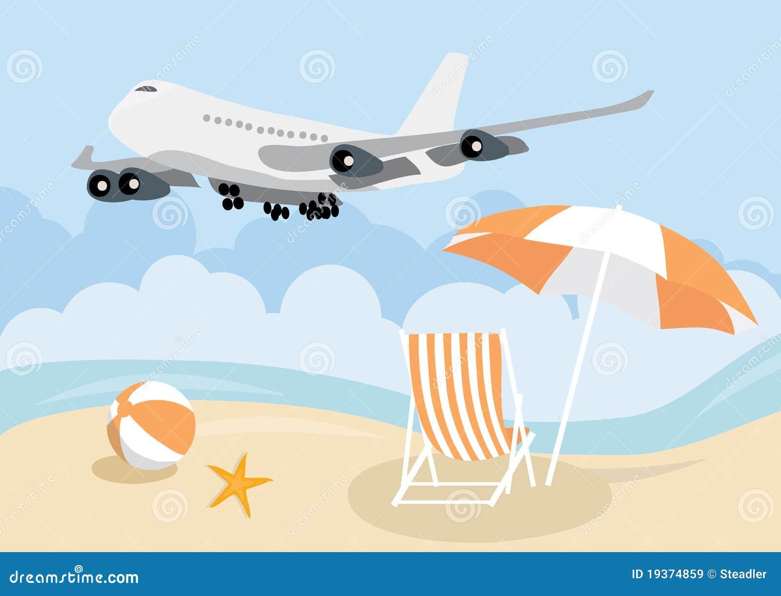 Avião sobre a praia do verão