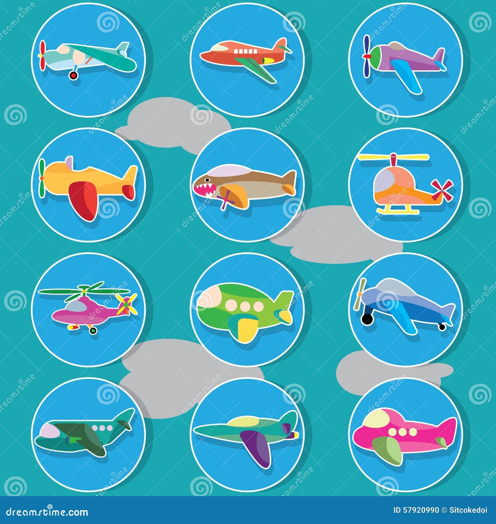 Avión De Aire En Círculo De Color Ilustración del Vector ...