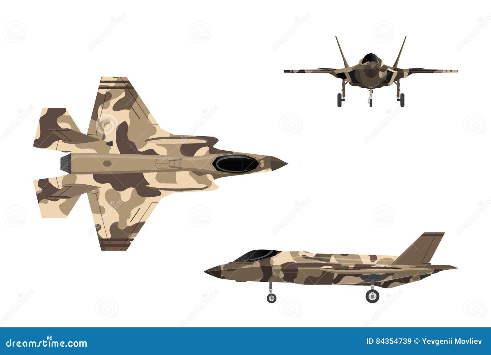 Avión De La Guerra En Estilo Plano Aviones Militares En El Top, Lado ...