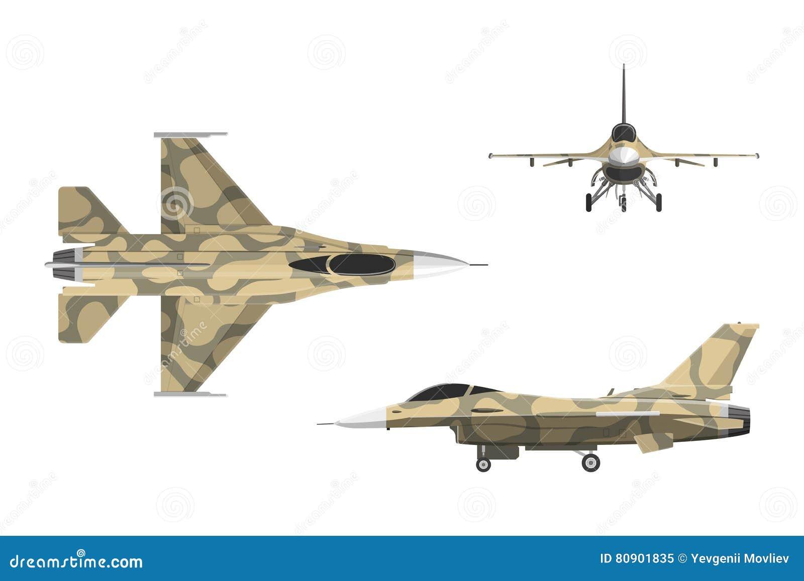Avión de la guerra en estilo plano Aviones militares en el top, lado, v delantero