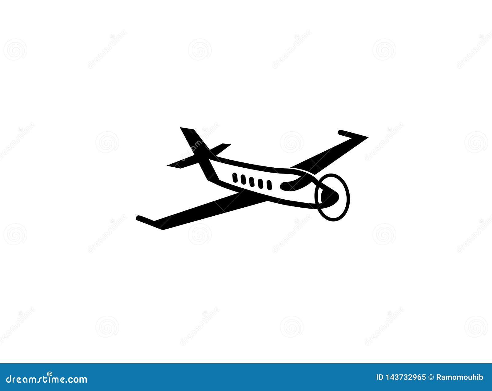 Avión privado con la fan para el ejemplo del diseño del logotipo, símbolo del transporte del hombre de negocios