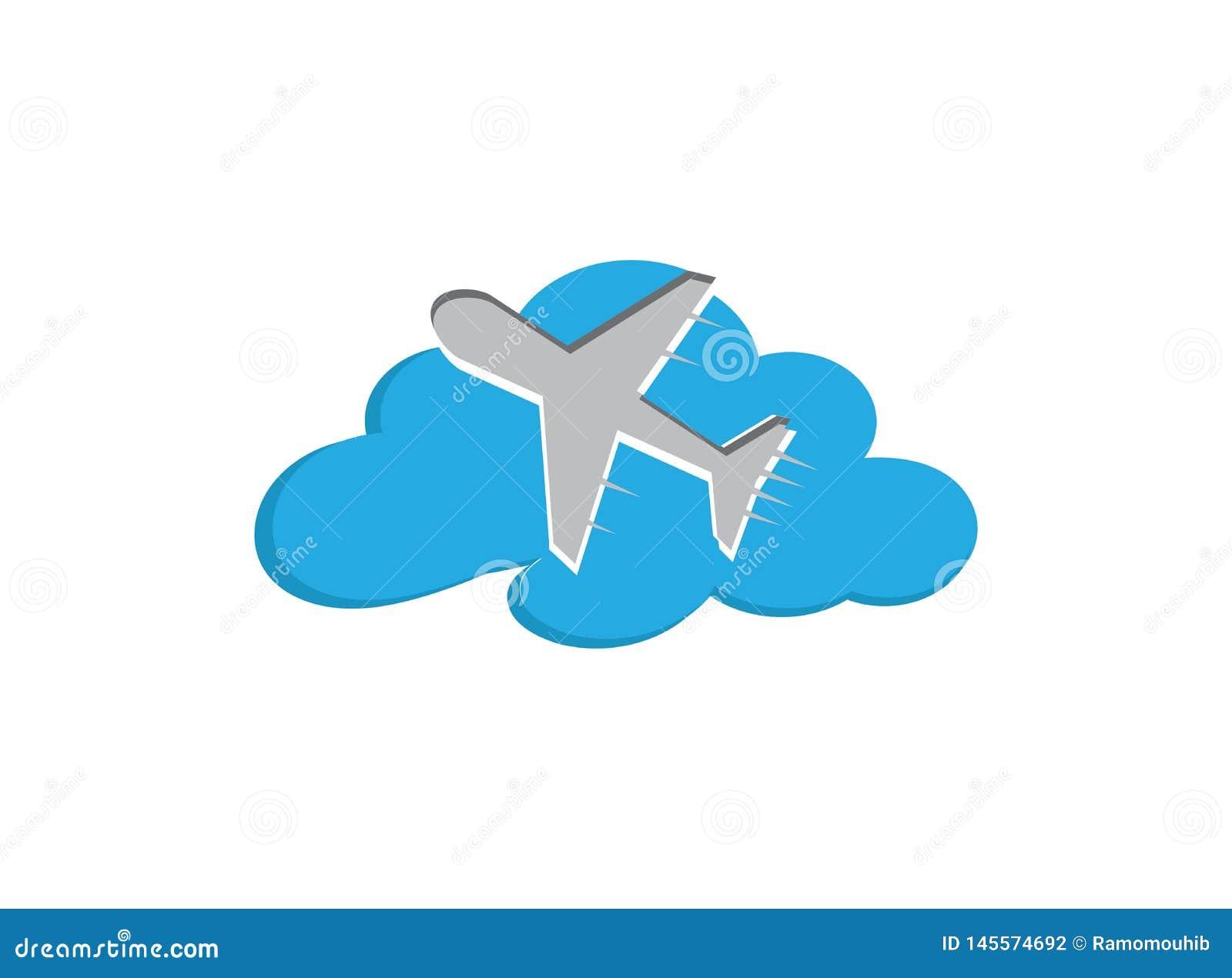 Avi?n que vuela en el cielo a trav?s de las nubes para el ejemplo del dise?o del logotipo, icono del viaje, s?mbolo del viaje