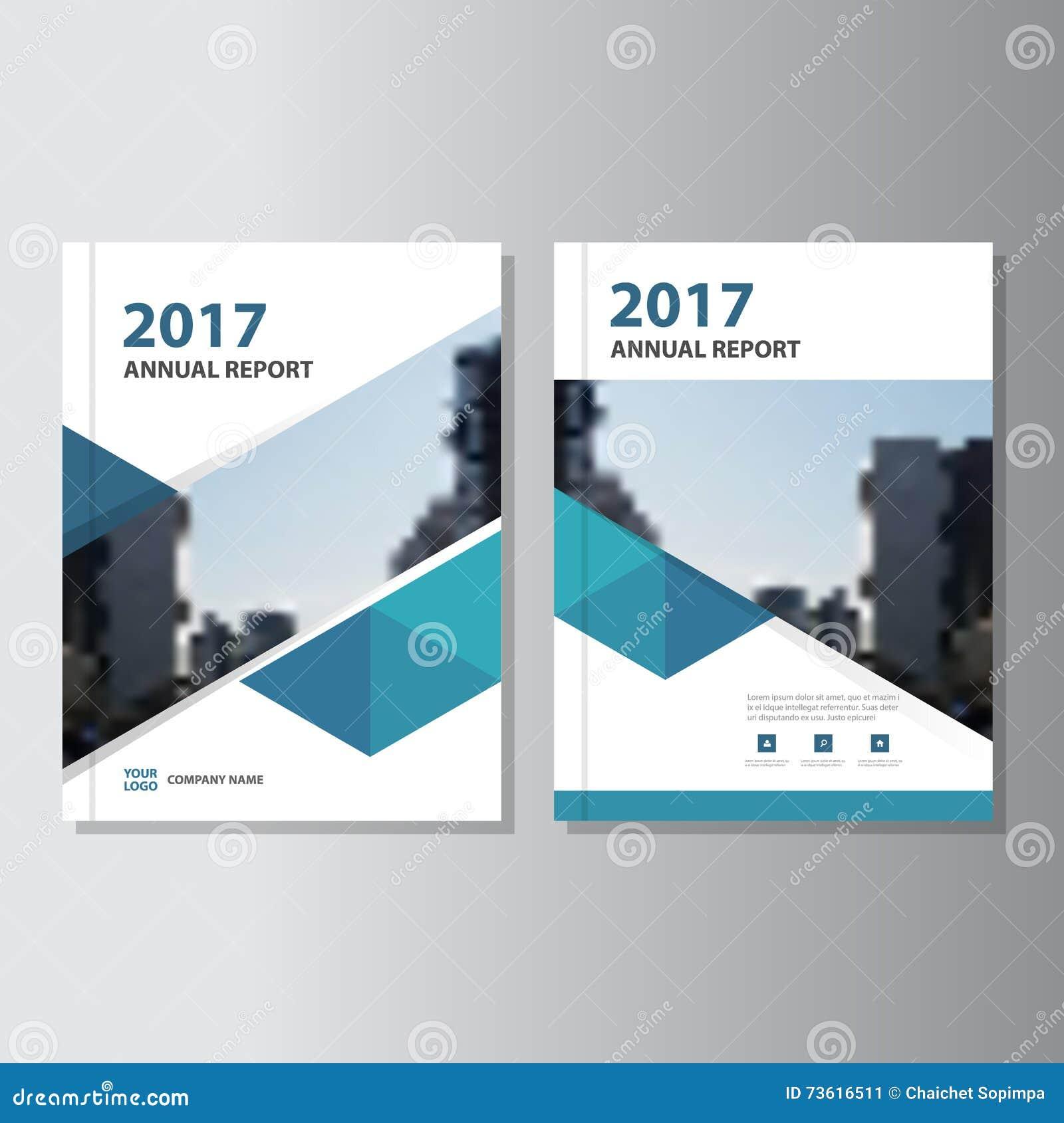Aviador azul del folleto del prospecto del informe anual del vector del triángulo