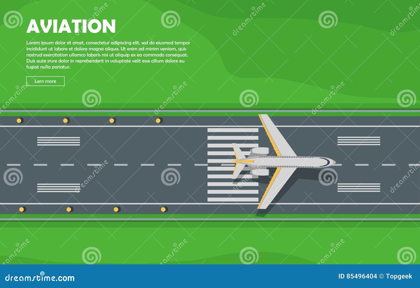 Aviation. Aircraft. Runway. Flight. Vector Banner