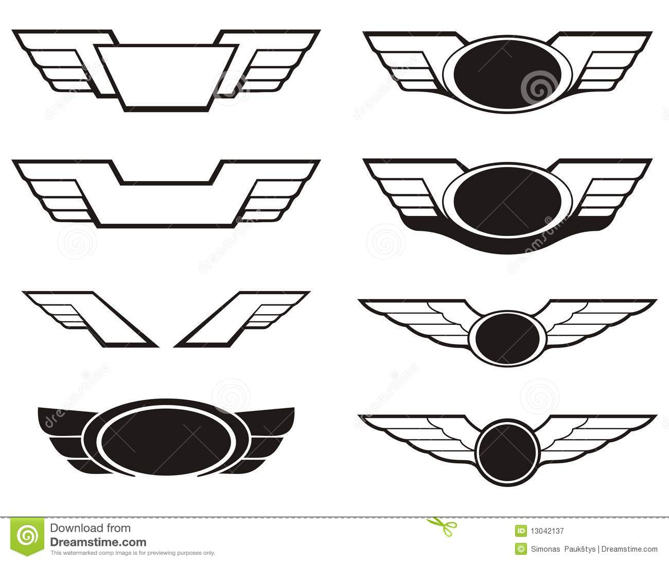 Aviation Insignia Wings Set Stock Vector