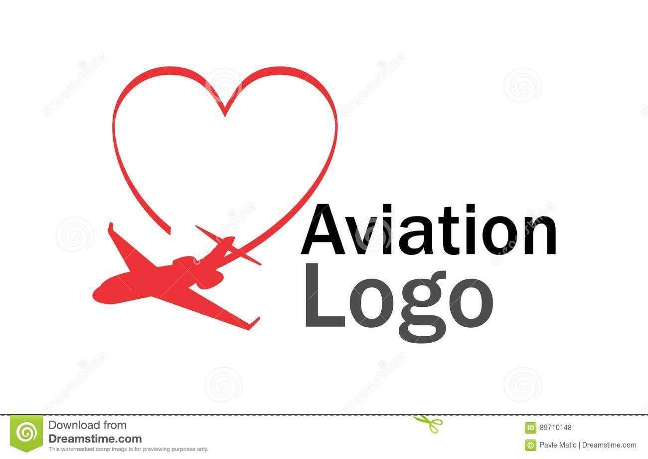 aviation love logo stock vector image 89710148