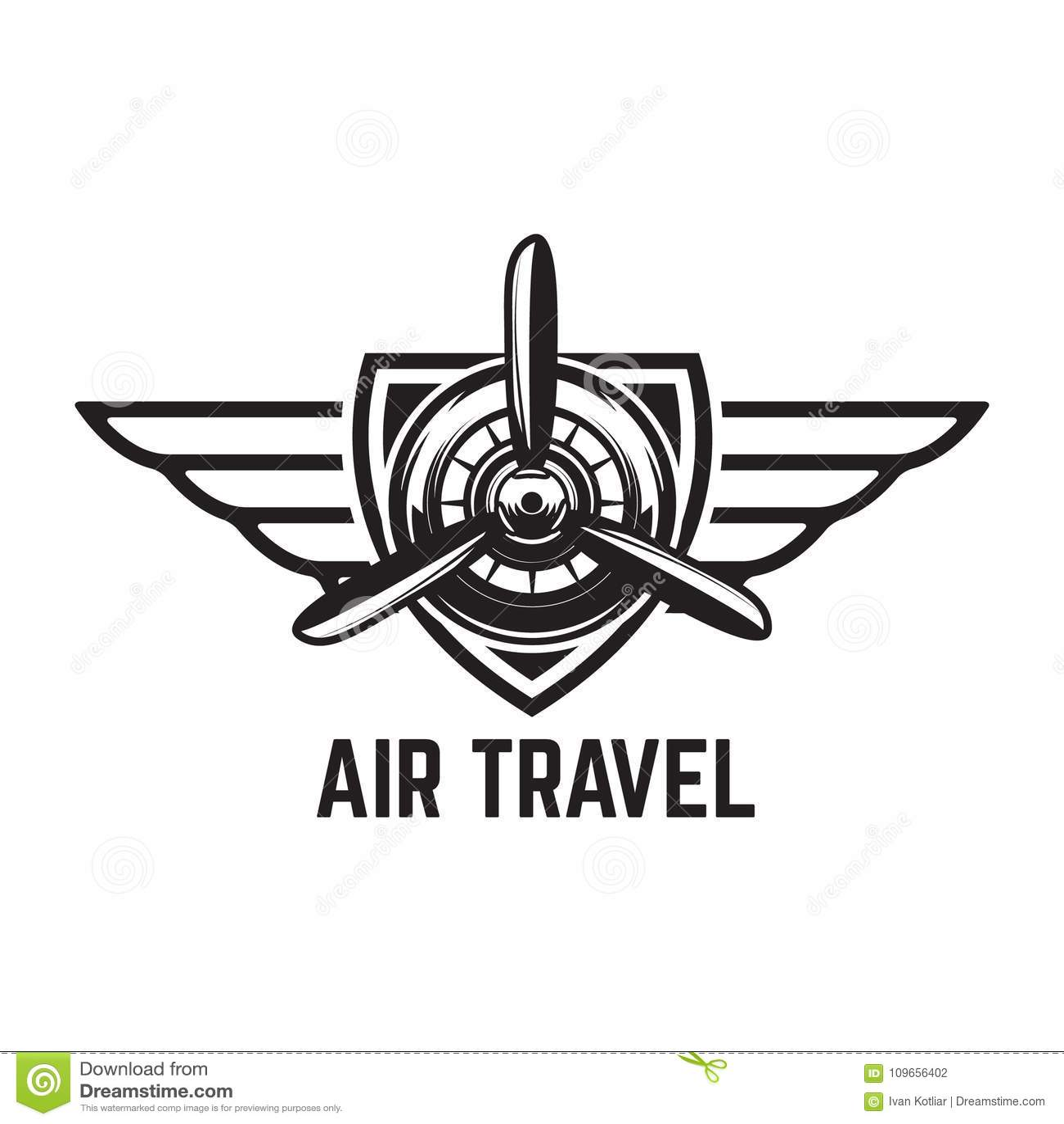aviation training center emblem template with retro airplane design