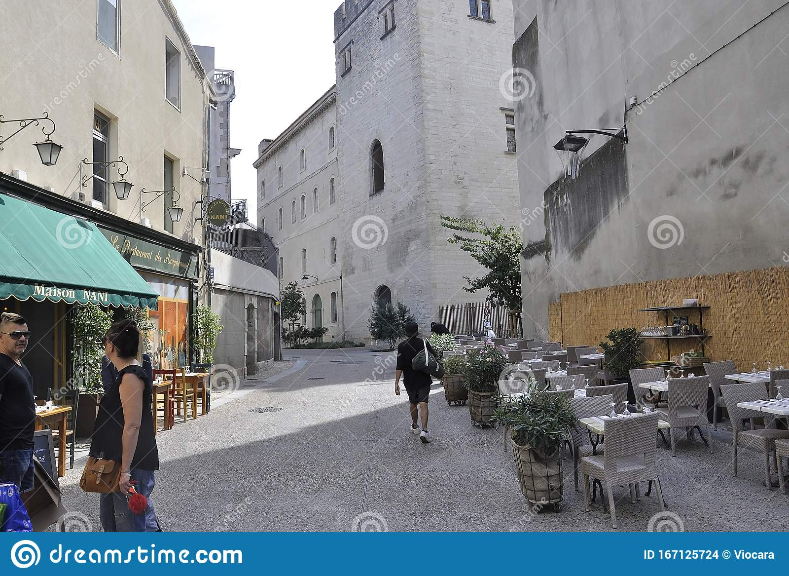 Avignon 10th September Narrow Street View With Outdoor Terrace Restaurant From Avignon In Provence France Editorial Stock Image Image Of Historic Lifestyle 167125724