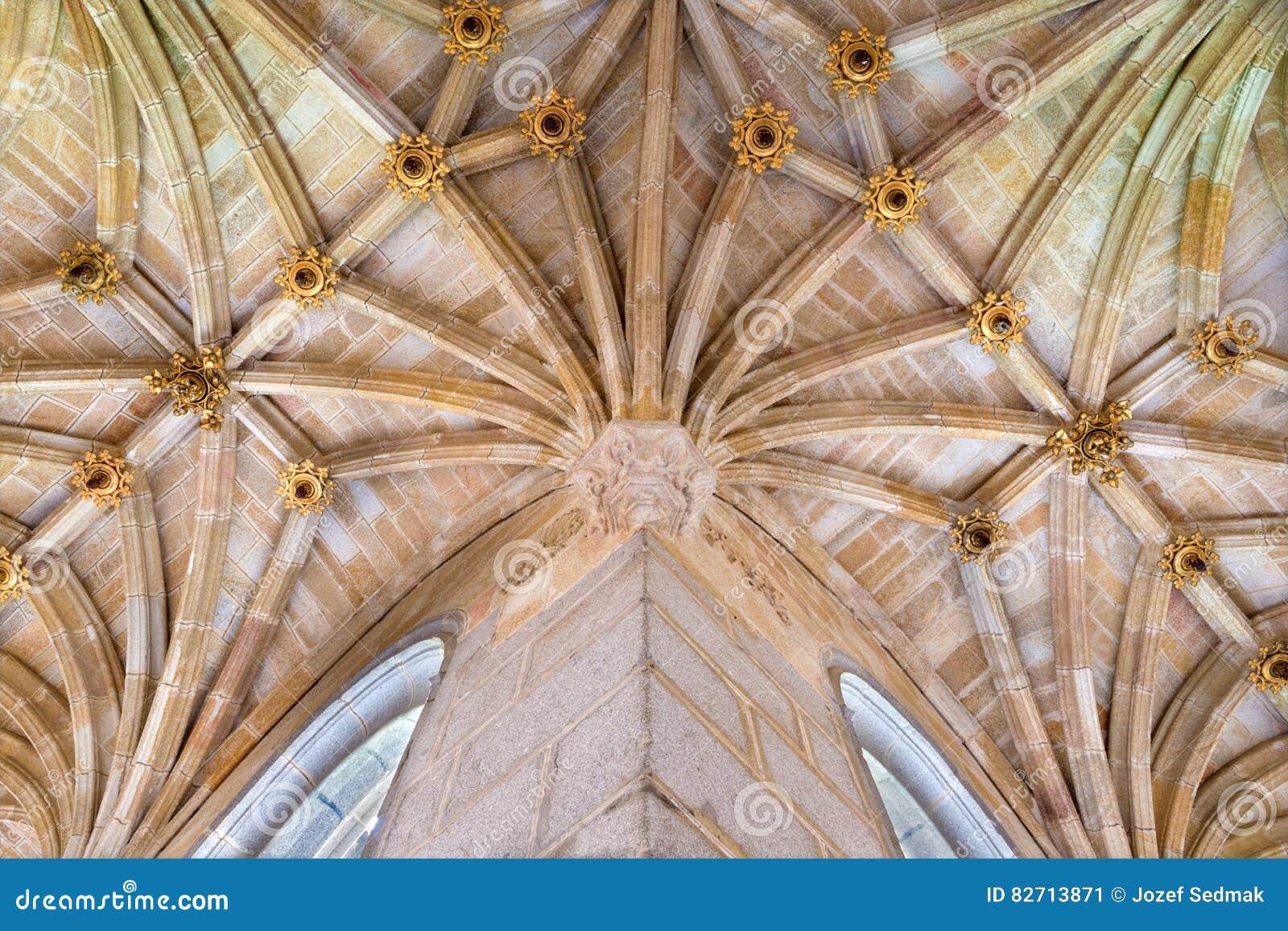 Avila Spain April 18 2016 The Vault Gothic Atrium Of Church