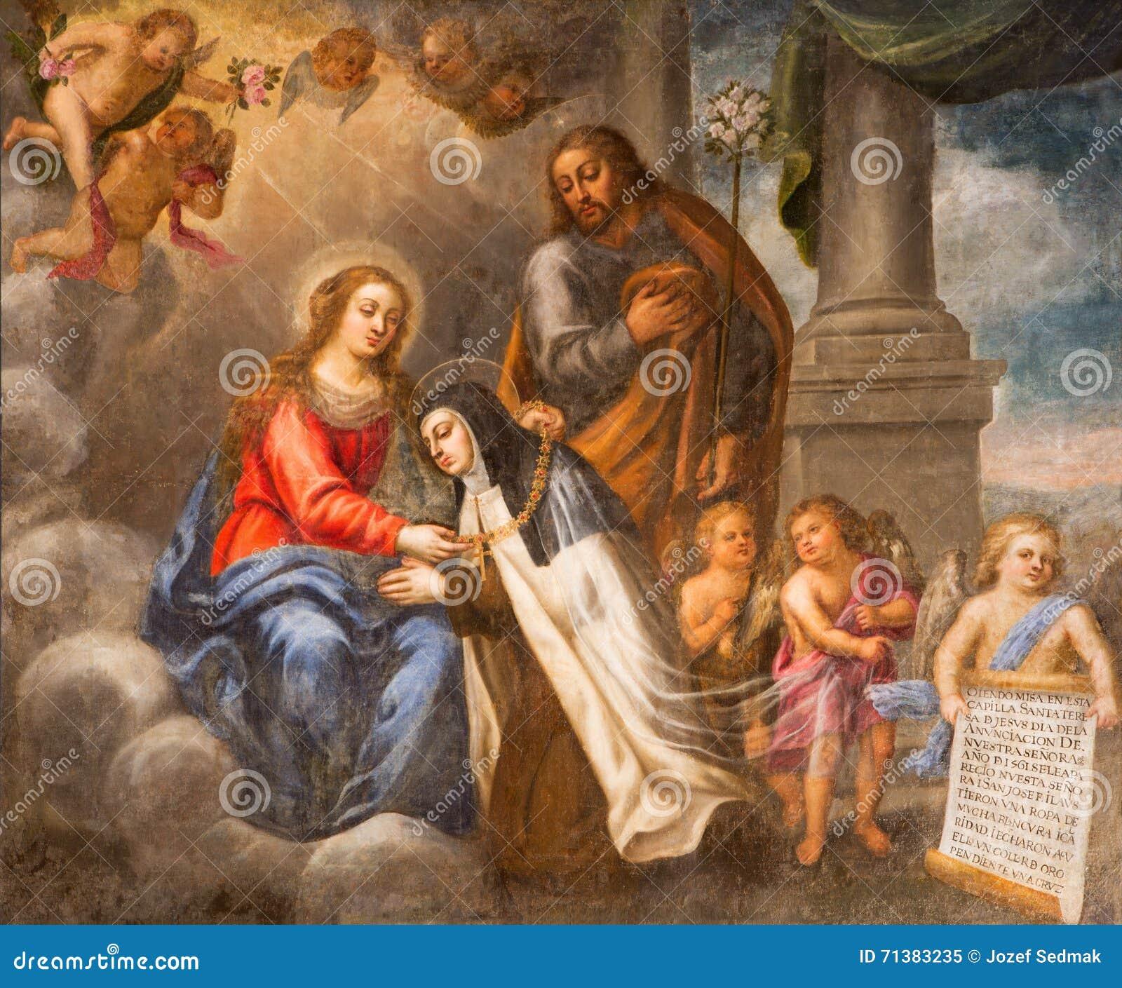 Avila Spanje St Theresia Van Avila Met Maagdelijke Mary En