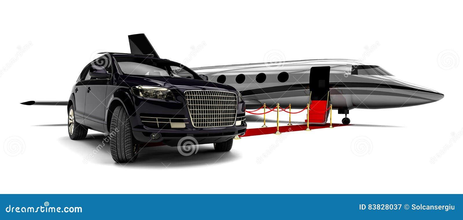 Avion à réaction avec SUV de luxe et un tapis rouge