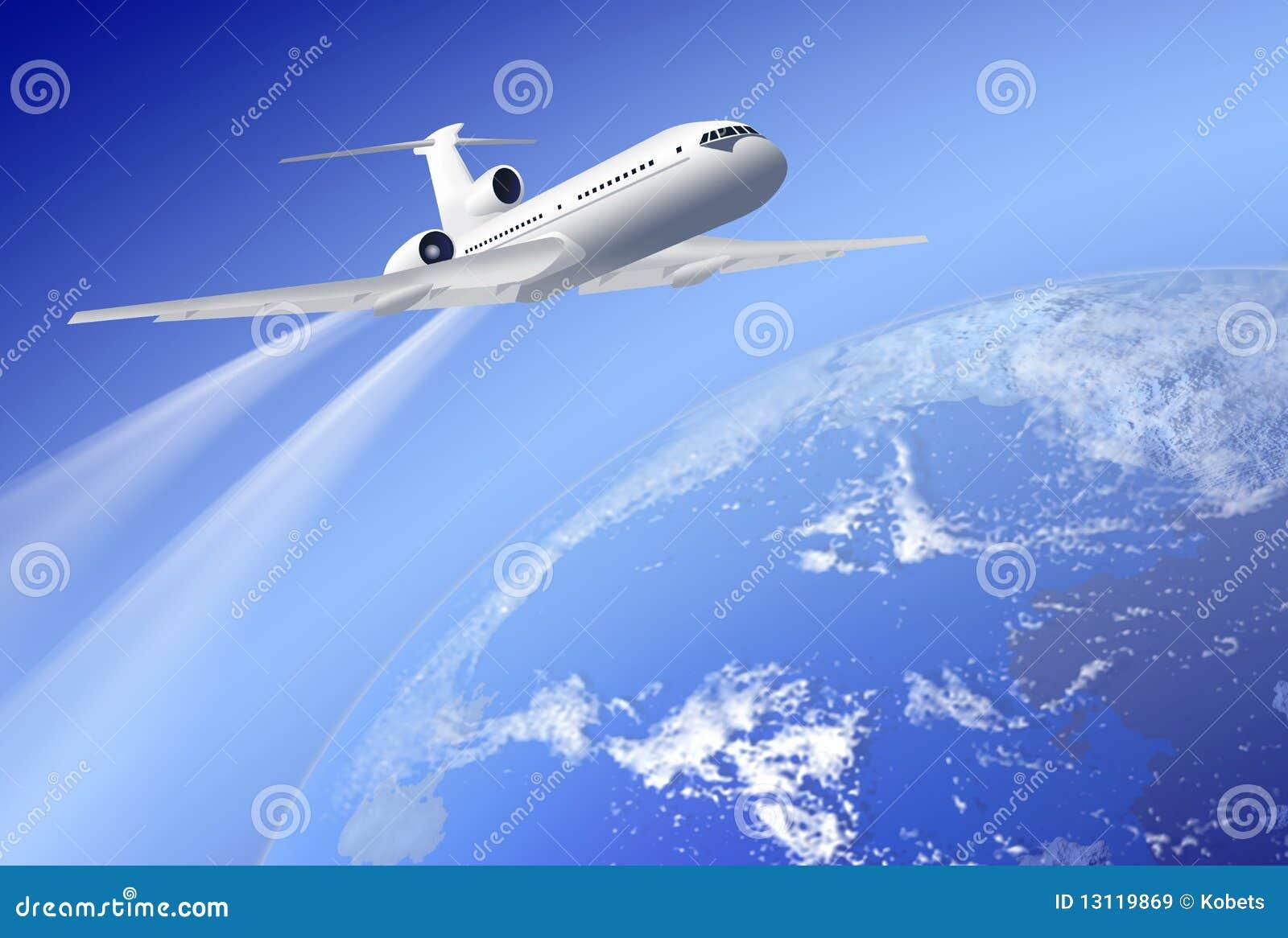 Avion au-dessus de la terre sur le fond bleu