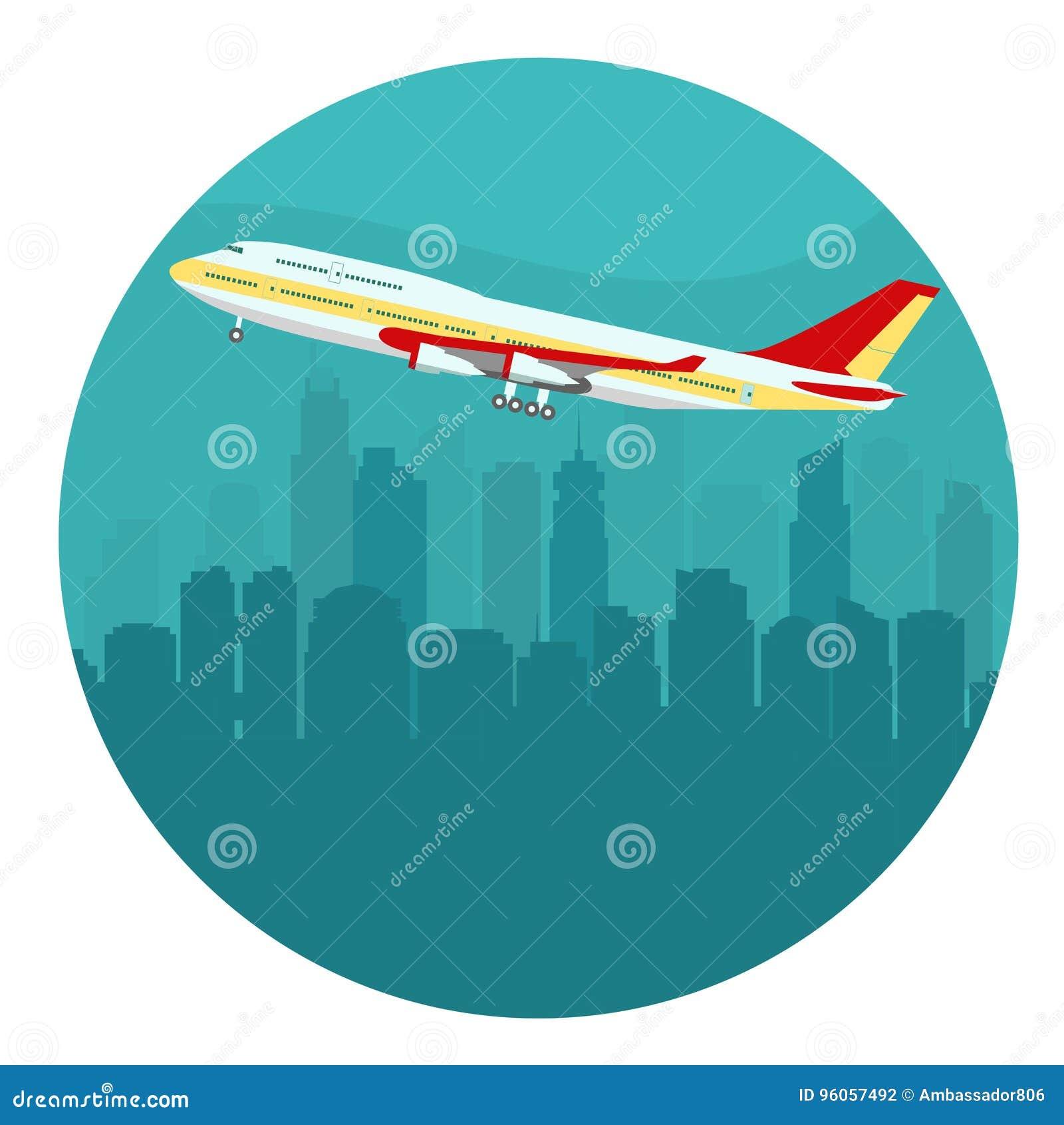 Avion au-dessus du paysage urbain Vecteur