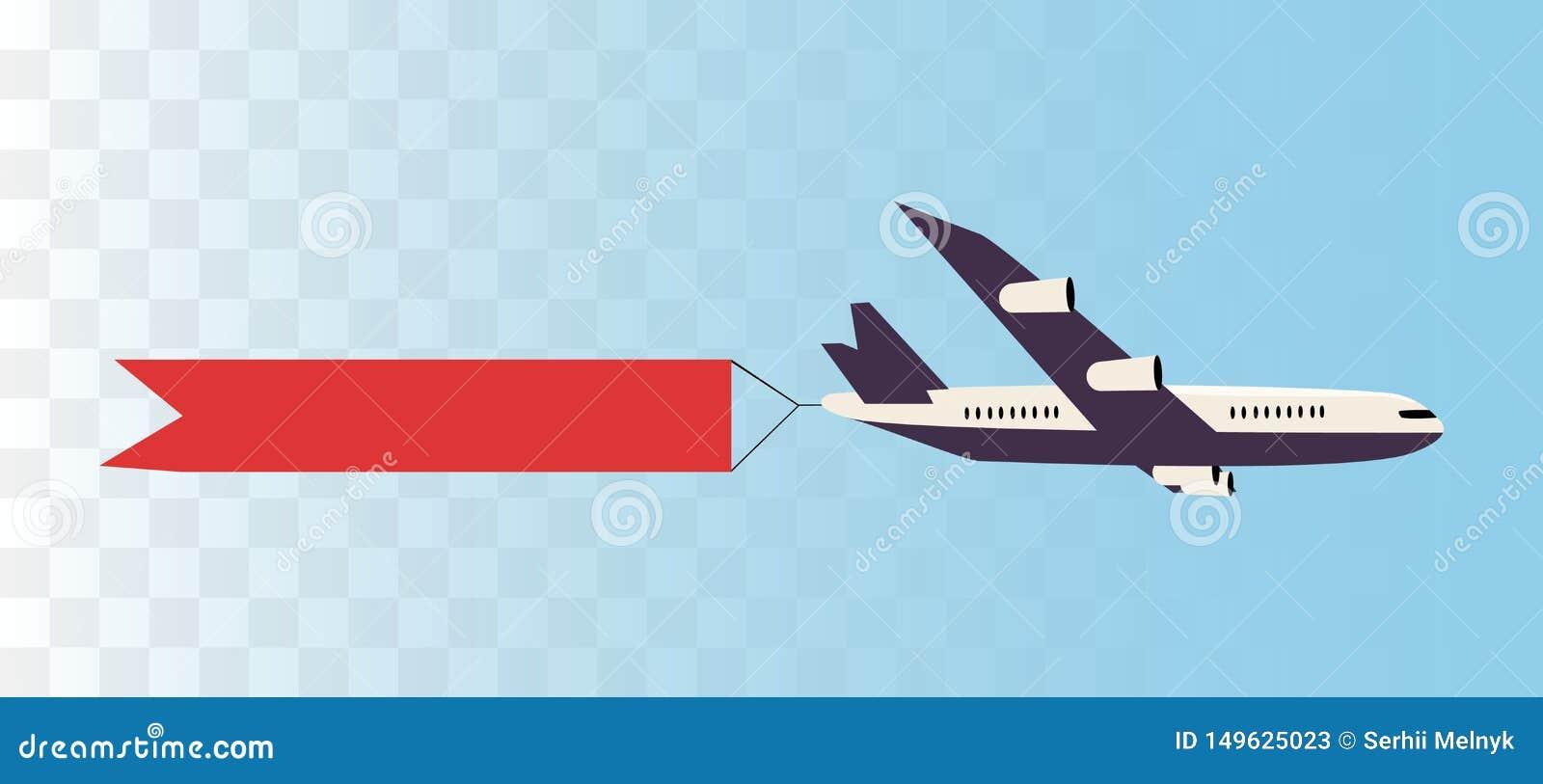Avion avec la bannière de ruban