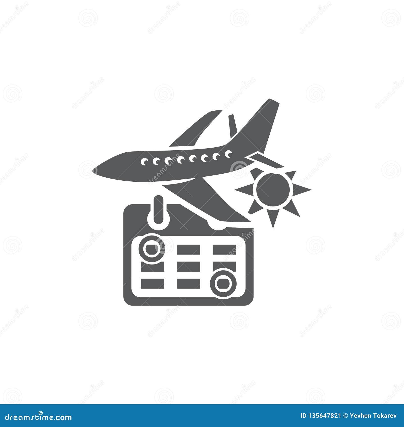 Calendrier Soleil.Avion Calendrier Et Soleil D Illustration De Vecteur