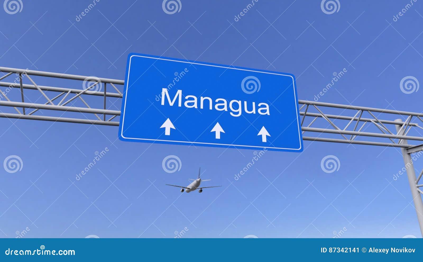 Avion commercial arrivant à l aéroport de Managua Déplacement au rendu 3D conceptuel du Nicaragua