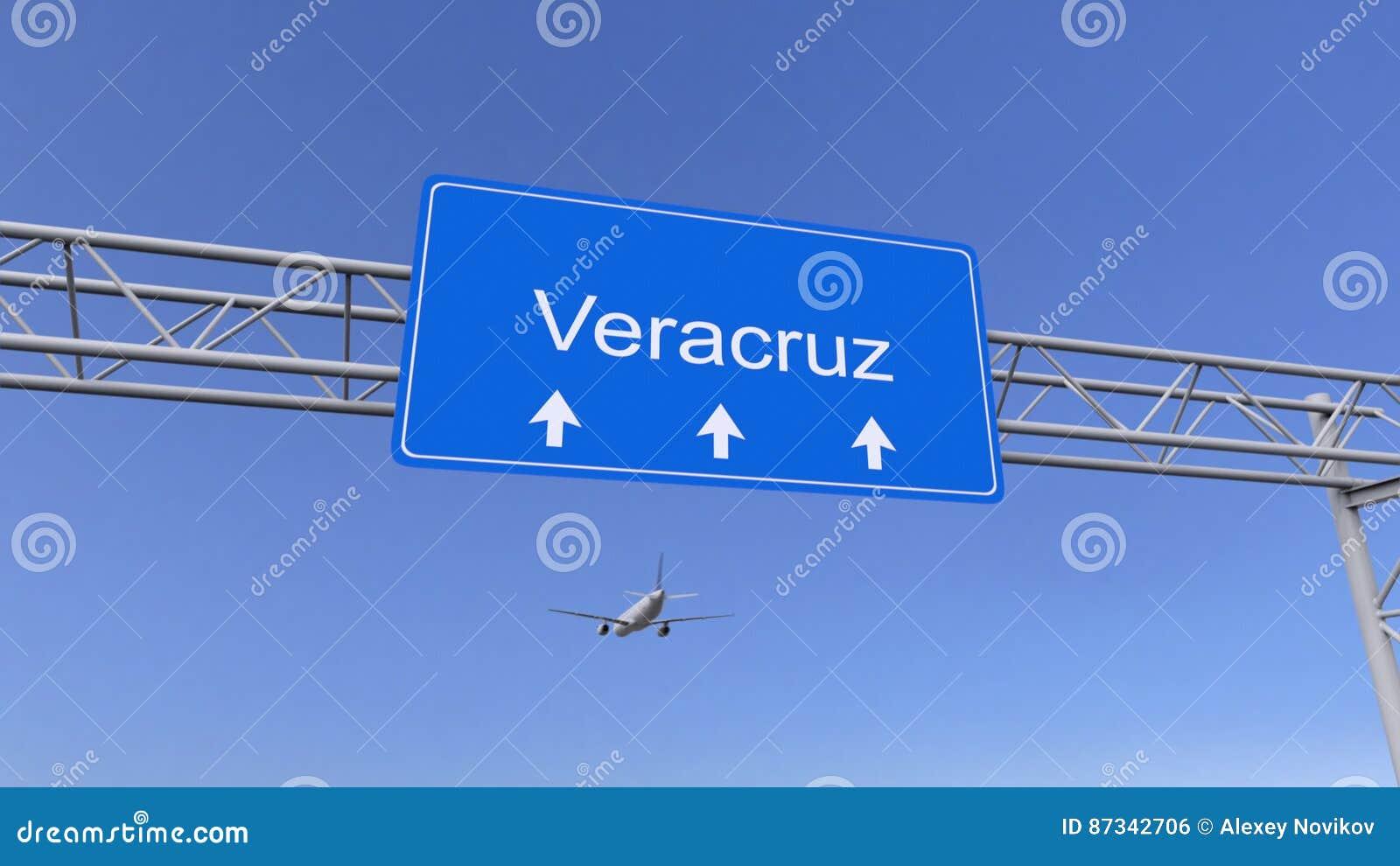 Avion commercial arrivant à l aéroport de Veracruz Déplacement au rendu 3D conceptuel du Mexique