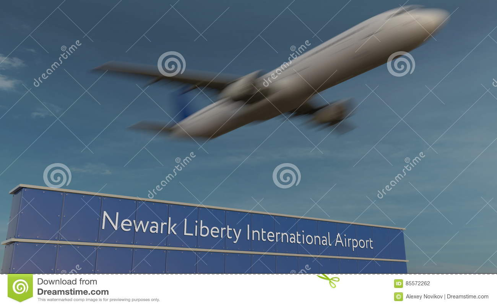 Avion commercial décollant au rendu de Newark Liberty International Airport Editorial 3D