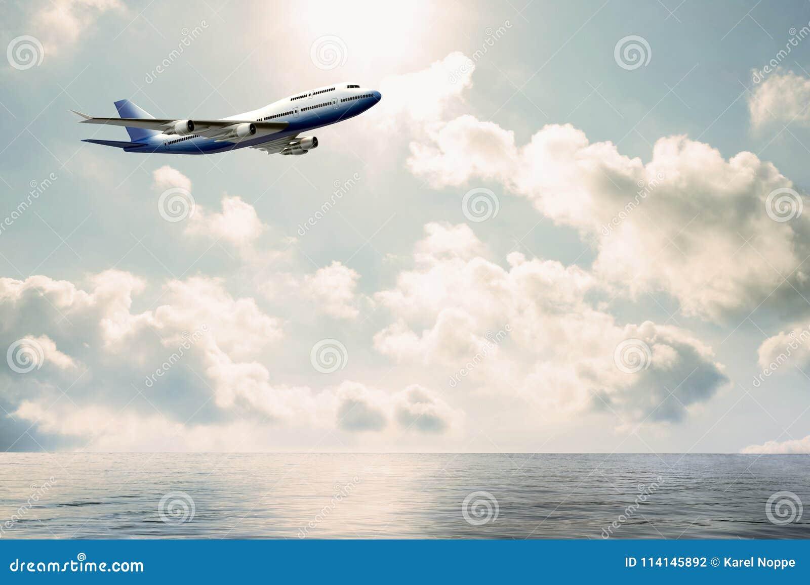 Avion commercial volant au-dessus de l eau